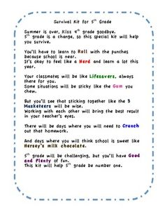 FREE little poem for beginning of the school year - gives students candy to represent how their year will go