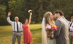 Celebrating while the bride and groom have their first kiss as a married couple! Photo by @wfphotos