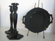 Black Glass Candlesticks and Dish