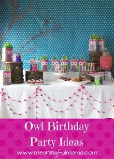 Owl Birthday Party Ideas - Food, Decor, Invitations and More http://meaningfulmama.com/2014/08/owl-party-ideas.html