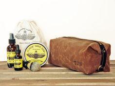 Personalized Men's Shaving Kit, Grooming Set, Gift for Him - Large Dopp Kit, Pre-shave Oil, Shave Soap, Aftershave Tonic, Shaving Brush