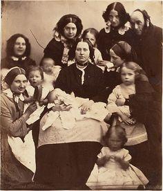 Mr. and Mrs. R. B. Tennent, Mrs. E. H. Yates, Mrs. Brandram, their Children and Three Nurses, 1850's