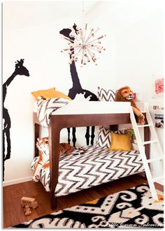 Love the chevron bedding in this shared toddler room. #chevron #toddler #room #bedding