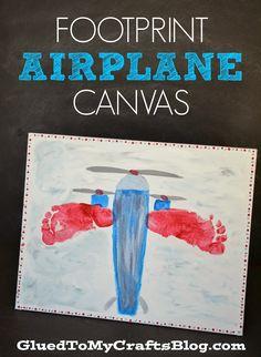 Footprint Airplane Canvas {Kid Craft} #kidscraft #preschool