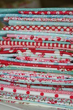 Red & Aqua fabrics