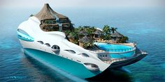 You've probably seen various design of luxury yachts but for sure you haven't seen such creative one. UK based company Yacht Island Design Ltd. moved up to a new level and has combined giant-sized personal luxury yacht and tropical island. This floating paradise has its own miniature volcano, flowing waterfall, mountain stream, and valley pool flanked by a series of small bamboo huts and shelter-providing palm trees. Deployable beach deck allows acces to the sea for various waters...