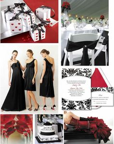 black, white and red wedding ideas