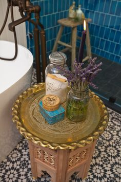 #WatchandPin  Bathtub side table, part of the design transformation.  #DearGenevieve (Air Date:  Sept 21 5pmEST)