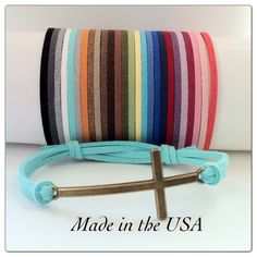 Sideways Cross Bracelet, Adjustable Suede Leather Sideways Cross Bracelet