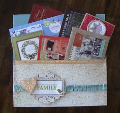 """Great idea to add a 12"""" x 12"""" pocket to the end of your scrapbook for cards, photos, and other memorabilia. Find this and other great techniques at www.jeanettelynto.... #CTMH"""