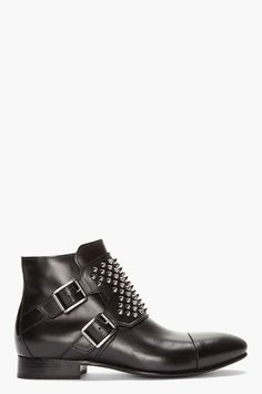 Balmain high top leather monk boots