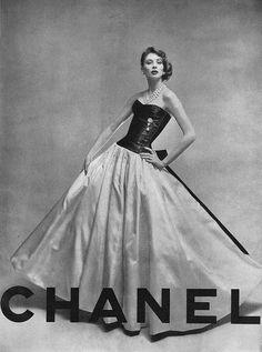 vogue, coco chanel, evening dresses, suzy parker, 1950s, white fashion, gowns, vintagechanel, vintage chanel