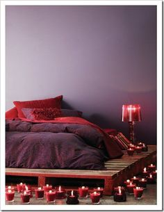 romantic..wooden pallet bed frame