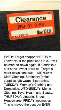 Target- I don't know if this is true, but if it is it's great info.