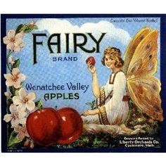 Cashmere Washington Fairy Apple Fruit Crate Box Label Art Print fruit crate, crate art, crate label, appl
