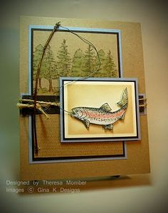 handmade card ... trout fishing ... gorgeous coloring ... luv the fishing pole ... tutorial on blog ...