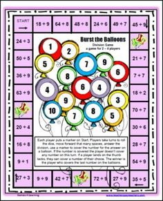Please enjoy the Burst the Balloons Division Board Game FREEBIE by Games 4 Learning. This math game practices division facts dividing by numbers from 1-9.