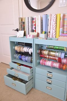 organizing gift wrapping, craft station, dream come true, craft areas, gift wrapping station