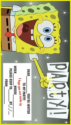 2 free, printable spongebob party invitations