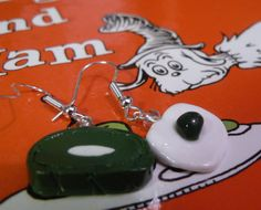 Green Eggs And Ham Earrings by JacquelinesCreations on Etsy, $7.00