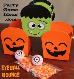 Halloween Eyeball Bounce, Easy, fun, DIY Children's Halloween Game - Just one of over 20 Kid's Halloween Party Games for young kids.