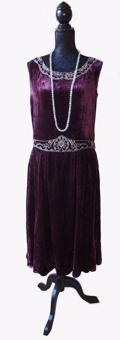1920s purple silk velvet dress with beaded detailing.