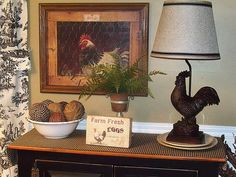 found the perfect lamp shade at Wal-Mart for my favorite rooster lamp!!!!!