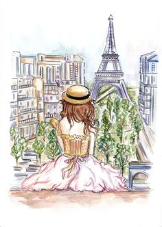 draw, victoria secrets, little girls, paris, model, tower, dreams, art, fashion illustrations