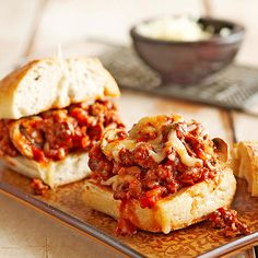 Made with sausage, ground beef, mushrooms, and olives, this zesty filling makes four yummy sandwiches: http://www.bhg.com/recipes/slow-cooker/slow-cooker-sandwich-recipes/?socsrc=bhgpin021114italiansausageheros&page=16
