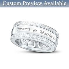 "Personalized fine diamond jewelry symbolizing forever love in a unique ""spinning ring"" design"
