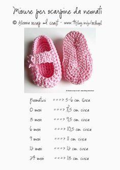 tabela com medidas de sapatinhos