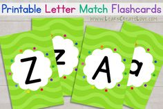 Printable Letter Match Flashcards from LearnCreateLove.com