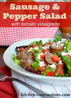 Sausage and Pepper Salad with Spicy Tomato Vinaigrette #Recipe #DinnerDone #shop #dinner #salad