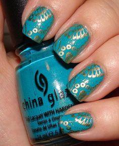 China Glaze Teal and Gold St. Patrick's Day Konad Manicure