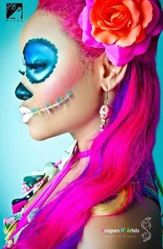 Halloween makeup: Day of the dead colorful sugar skull makeup