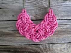 Pink Rope necklace  Statement rope necklace Knot rope necklace