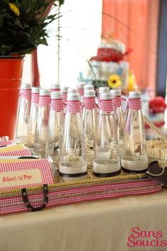 Boy's Cowboy Themed Baby Shower Party Table Drink Ideas