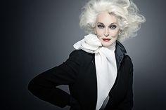 gray hair, white hair, fashion models, carmen dellorefic, carmendellorefic