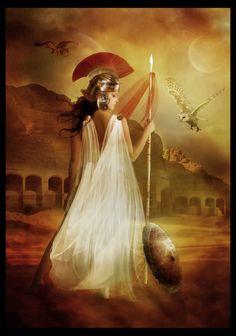 Atena é filha de Métis e Zeus. Segundo o mito, nasceu do crânio do pai que a havia engolido antes que a mãe pudesse dar à luz. Zeus assim o fez aconselhado por Urano, quando este revelou que, caso Métis tivesse filhos, ele perderia seu império no céu. No momento de seu nascimento, Atena deu um grito de guerra que foi ouvido de céu à terra. Vivia preparada para a batalha, armada com capacete e lança. Alta, majestosa e dona de uma expressão serena.
