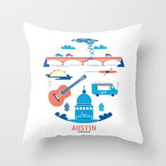 Love Letter to Austin, Texas Throw Pillow by Christopher P. Cacho - $20.00