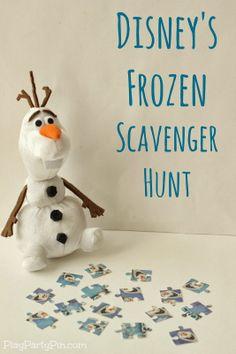 party games, disney games for kids, kids birthday scavenger hunt, scavenger hunts, frozen scaveng