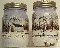 canning jar crafts | Newfoundland Arts and Crafts - Hand Painted Mason Jars - Tides Point