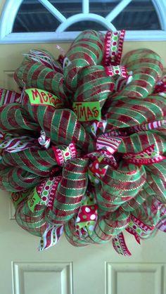 christmas wreaths, christma wreath, mesh wreath, christma decor