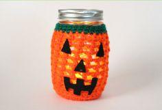 Pumpkin Mason Jar Candle,  Flameless Candle, Halloween Decor, Crochet Jack O Lantern Decoration