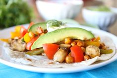 Roasted chickpea fajitas.