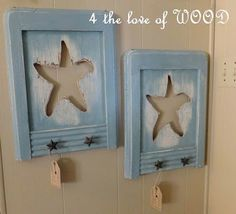 How clever!  Star fish cut outs in fun salvaged wood.