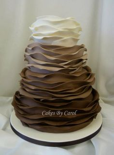 Chocolate ombre ruffle wedding cake - by cakesbycarol @ CakesDecor.com - cake decorating website