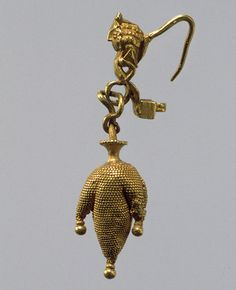 Earring in the form of a three-lobed wineskin, 2nd century B.C.–2nd century A.D.; Parthian period  Mesopotamia  Gold #Iran #Iranian #Mesopotamia #Mesopotamian #Parthia #Parthian #Persia #Persian