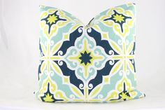 Navy Blue. Light Blue. Lime Green. by ShelleeHomeDesigns on Etsy, $35.00