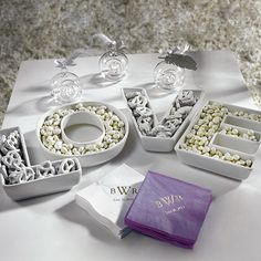 """LOVE"" Plates Set.  Ooh now this is cute I'm getting this for my cocktail hour."